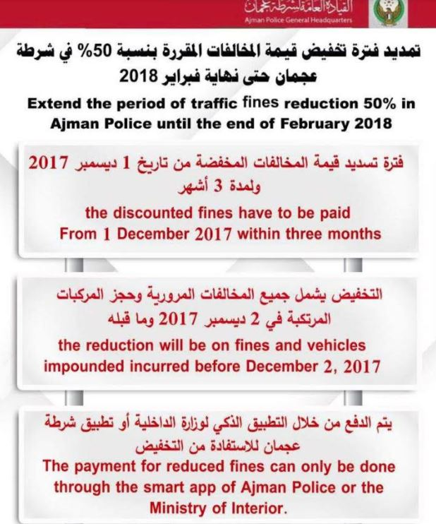 Ajman emirate extends 50% reduction on traffic fines