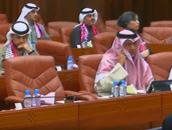 VIDEO: MPs attend weekly session donning Bahraini, Palestinian flags
