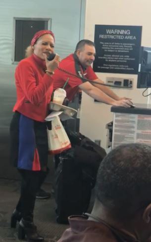 Southwest flight attendant sings 'I'll Be Home For Christmas' to travellers