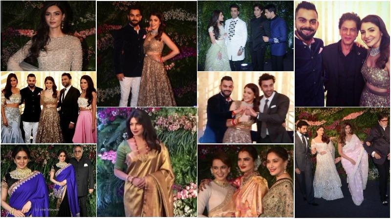 Photos & Videos: Katrina, Kangana, SRK, Dhoni at Virat and Anushka's Mumbai reception