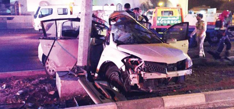Three UAE nationals killed as car rams lamppost
