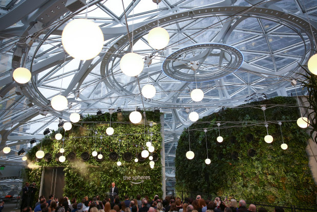 Tech Talk: PICTURES: Amazon opens plant-filled 'The Spheres' buildings