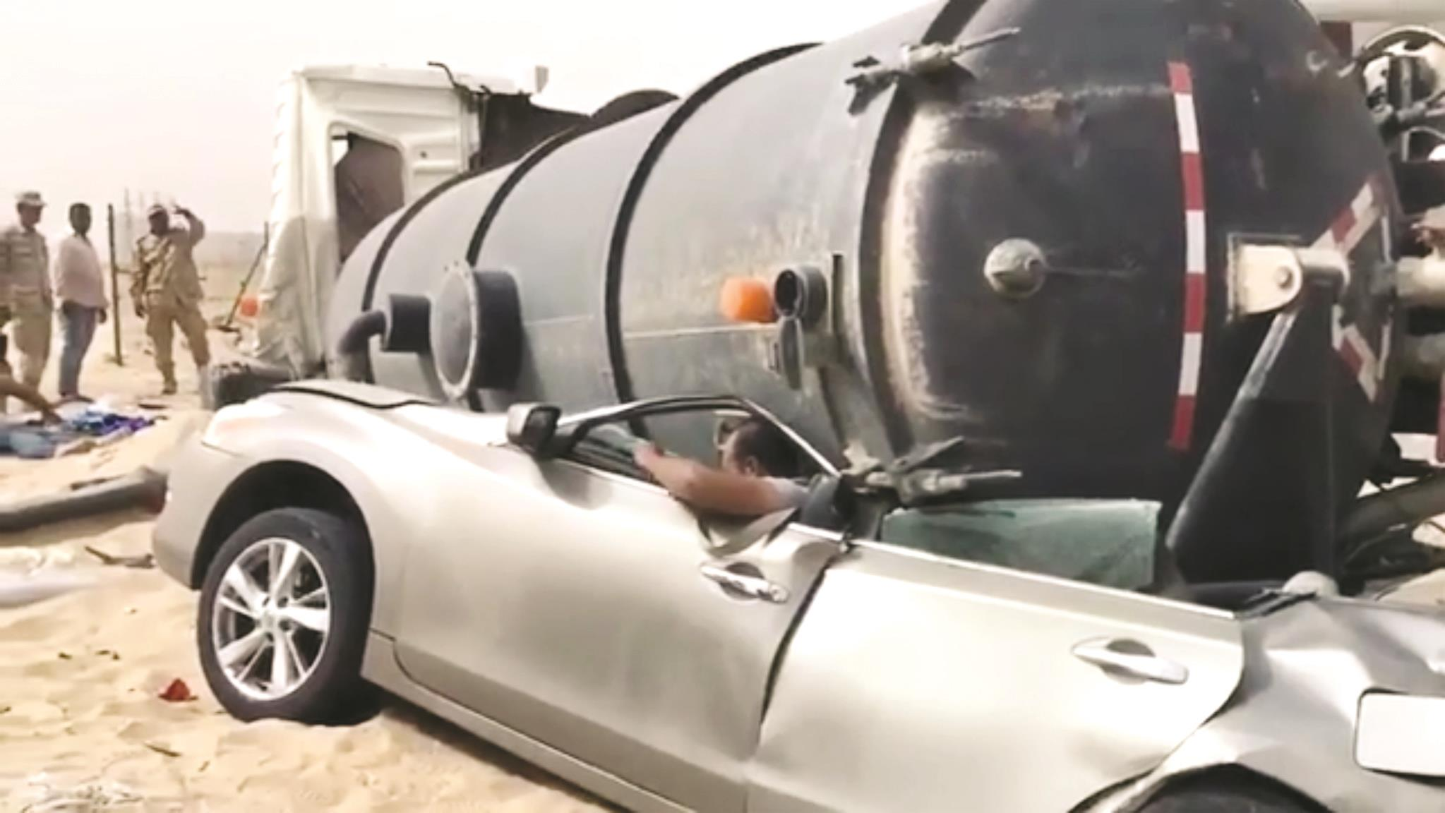 Egyptian has miraculous escape as tanker flattens his car