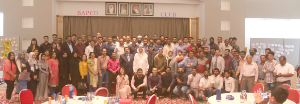 A staff party was organised by the Bahrain Pharmacy and General Store for its employees at the Bapco Club, Awali. It was attended by chief executive Dr Abadulmajeed Al Awadhi, management and staff. The event featured raffle draws and games with prizes that included a BD250 airline ticket, TV, laptop, mobile, telephone and more. Above, employees and officials at the event.