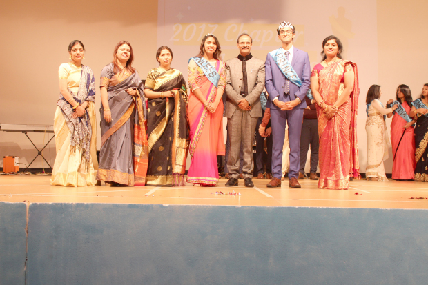 <p>A farewell ceremony was held at the New Millennium School - DPS for its graduating class of Grade 11. School managing director Geetha Pillai presented the students with tokens of appreciation. Present were principal Arun Kuumar Sharma, teachers and staff. Above, farewell Princess Kirti Dash, centre, and Prince Arjun Singh Mann, second from right, with school officials at the event.</p>