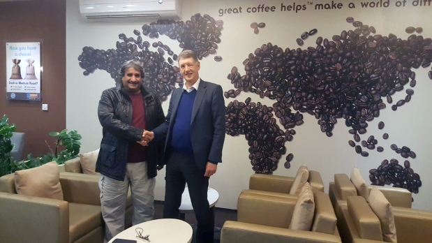 Esquires Coffee franchise executive chairman Keith Jackson met Esquires Bahrain branch owner Shaikh Khalid bin Hamad Al Khalifa and discussed new projects, stock management and the overall development of the coffee houses. The meeting was held at Esquires, Awali. Above, Shaikh Khalid, left, with Mr Jackson