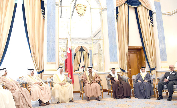 His Royal Highness Prime Minister Prince Khalifa bin Salman Al Khalifa yesterday received senior government officials, journalists, businessmen and intellectuals and reiterated Bahrain would push ahead with the march of development and prosperity in the interest of citizens. He recalled the Bahraini people's patriotic stances under the royal leadership against attempts to undermine the homeland's unity, security and stability. He hailed the role of journalists in addressing national unity.