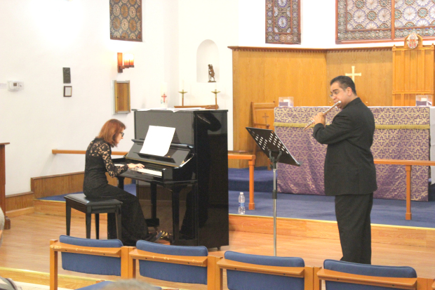 <p><em>Ms Lopchynska and Mr Al Ghanem at the event</em></p><p>Ahmed Al Ghanem on flute and Nadia Lopchynska on the piano performed a programme of dance music from across the centuries and across the nations at a concert at St Christopher's Cathedral. </p>