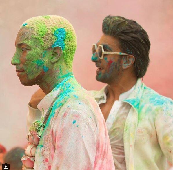 Photos: Pharell Williams enjoys Holi celebrations with Ranveer Singh