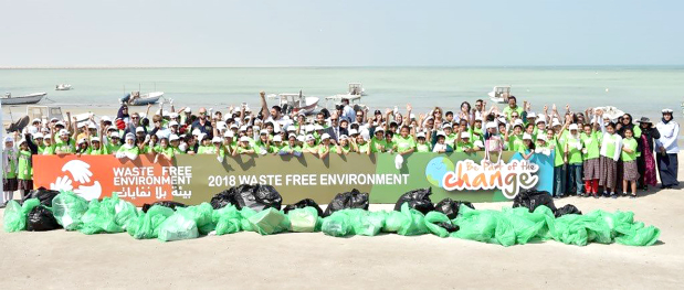 <p>Students along with officials after the clean-up</p>