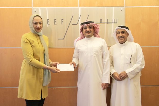 Seef Properties has donated BD5,000 to INJAZ Bahrain, a non-profit organisation which aims to empower young people to own their economic success and be prepared for today's business challenges. Seef Properties chief executive Ahmed Yusuf presented the donation to INJAZ Bahrain media and business development officer Marwa Hassan in the presence of Seef Properties board of directors secretary Zakareya Buallay. Above, at the presentation are, from left, Ms Hassam, Mr Yusuf and Mr Buallay.
