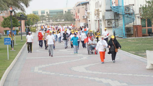 <p>More than 300 people took part in a charity walkathon marking Arab Orphan Day at Dohat Arad Park, Muharraq. Organised by the Tree of Life Charity and held under the patronage of Labour and Social Development Minister Jameel Humaidan, the event also featured a market selling paintings and goods. Staff from Shifa Al Jazeera Medical Centre were at hand with doctors offering free consultations. All proceeds from the walkathon will go towards supporting 480 orphans and 163 impoverished families in Bahrain. Above, people taking part in the walkathon.</p>