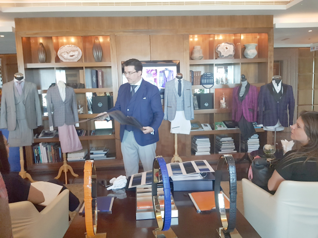 <p>Bespoke fashion and leather goods brand Tailleur Premium Paris launched its latest collection in Bahrain at the Capital Club, Bahrain Financial Harbour. Brand founder Lionel Da Costa showcased the new selection at a Press conference. Above, Mr Da Costa at the event.</p>