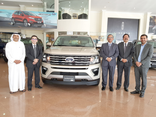"""Almoayyed Motors has launched the new generation of 2018 Ford Expedition. The 3.5 litre SUV with its new design and technology delivers up to 400 horsepower along with the best towing capability. The new generation is the smartest, most capable and most adaptable Expedition ever. """"When Expedition was introduced 20 years ago, it set the standard for active families who simply needed a big and strong SUV to take them places,"""" said Almoayyed Motors general manager Mario D'costa. """"Ford has continued to push standards to newer and higher levels, building on its SUV leadership heritage."""" Present at the launch event were company officials including Mr D'costa, Ford service senior manager Abdul Kareem, Lincoln sales head Ameer Dashti, Ford retail sales manager Dharmesh Bhat and Almoayyed Motors marketing manager Mohamed Mahmood. Above, Mr D'costa, third from left, in presence of other officials at the launch event."""