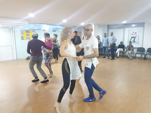 Mr Al Alawi dancing with one of the salsa instructors at the event