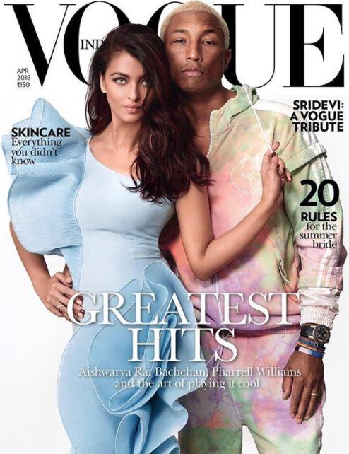 Aishwarya Rai and Pharrell Williams on the cover of Vogue India