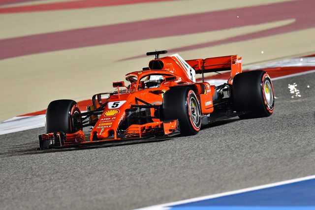Vettel takes pole as Ferrari lock-out Bahrain front row