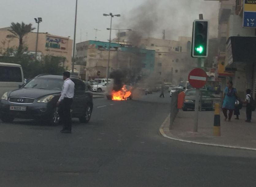 PHOTOS: Car fire in Manama this morning