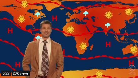 VIDEO: Brad Pitt returns as depressed weatherman on TV show