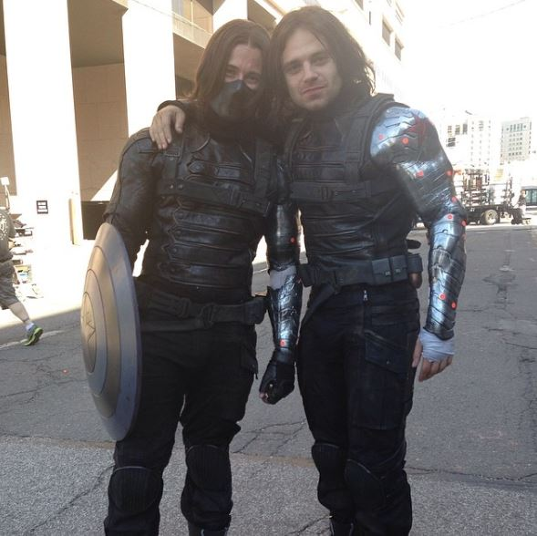 Behind-the-scenes photos of Avengers and their stunt doubles together!