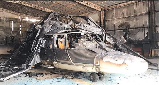 Fire guts helicopter at Kuwait airport
