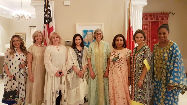 Ms Siberell, fourth from right, with guests