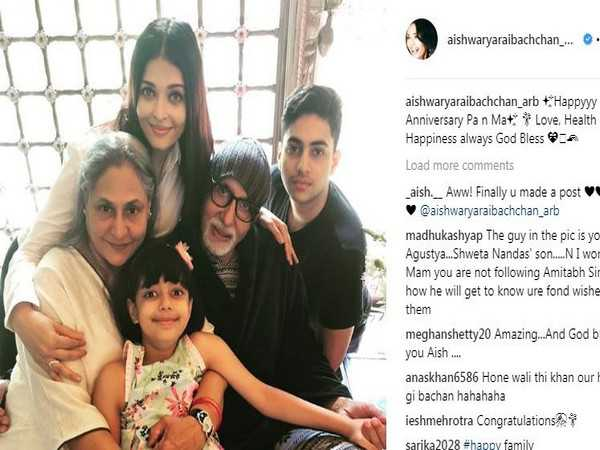 Here's how Aishwarya wished Jaya Bachchan, Big B on anniversary