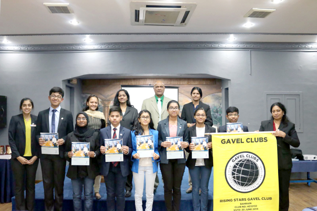 <p><em>The new committee members with other officials.</em></p> <p>New executive committee members of Rising Stars Gavel Club were inducted at a ceremony held at Hotel Tropicana in Mahooz.</p> <div>The new officers are president Hridam Saha, vice-president (education) Mariam Mansoor, vice-president (membership) Siddhanth Sharma, vice-president (public relations) Akshata Samy, secretary Astrelle Dsouza, treasurer Sanjana Satheesha and sergeant-at-arms Kavin Kishore.</div>