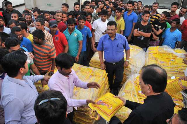 <div>More than 2,500kg of rice has been donated to hundreds of workers who staged a march this week over unpaid wages. The Punjabi community and members of Punjabis United in Bahrain (PUB) delivered the donation yesterday to the men's labour accommodation in Tubli. It was in response to an article in yesterday's GDN, which documented how residents of the labour camp marched in the scorching heat from Tubli to the Diplomatic Area on Monday. They were intercepted by police near American Mission Hospital, in Manama, at around 10am and labour officials have since taken up their case with their employer, Orlando Construction Company</div>
