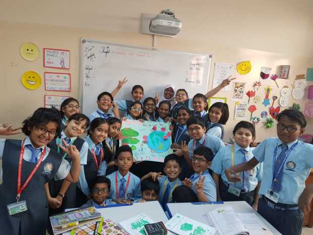 A week-long celebration was held by the New Millennium School-DPS to mark World Environment Day. It included cleanliness campaigns such as 'Clean NMS, Green NMS' and 'Say No To Plastic' along with activities such as poster-making, recycling of e-waste, plantation drive and best-out-of-waste activities. The event also featured a pledge by students to keep the environment clean. Above, students taking part in the celebration.