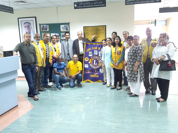 On the occasion of Eid, around 15 members of the Lions Club of Riffa visited the Geriatrics Hospital, Muharraq which takes care of more than 100 patients. The club presented hijabs to women and ghutra (head-dress) to men along with fruits and sweets. Present were club president Sanjay Gupta and senior member Yousuf Hubaishi, along with others. Above, Mr Gupta, third from left, and Mr Hubaishi, seventh from left, with other members at the hospital.