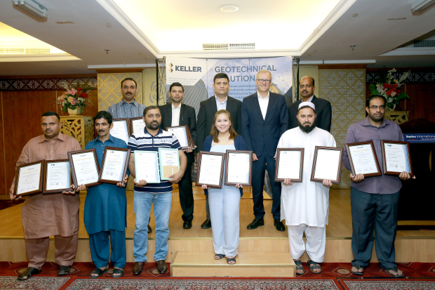 Eight long-serving employees of Keller Grundbau GmbH were honoured at a ceremony at the Swiss International Palace Hotel. They included, front row, from left, Ghulam Mustafa, Akhtar Mahmood, Muhammad Shahid, Iris Lynn Briones, Taza Gul and Abdul Nabi, and back row, from left, Aqeel Ahmed Shah and Sarfaraz Ahmed Syed, who have been each serving the firm for the past 10 years. Present were Keller Bahrain branch manager Jeyaprakash Elango, back row, right, managing director (Middle East) Tomasz Michalski, back row, second from right, and general manager Muhammad Ali, back row, centre.