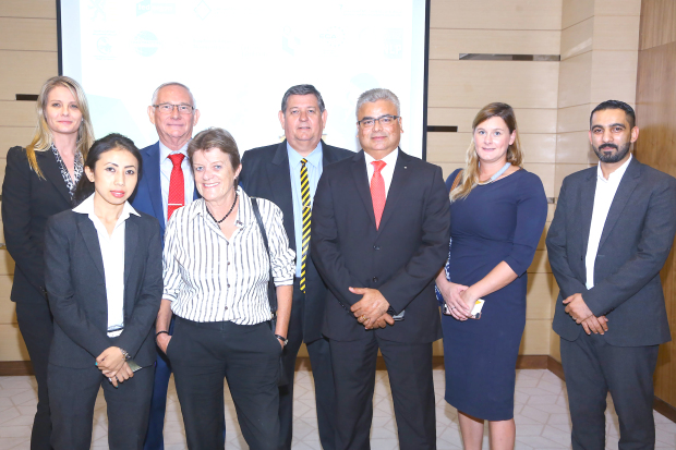 <p><em>Mr Nicolai, back row, second from left, and Mr Jackson, back row, third from left, with some of the participants at the event</em></p>