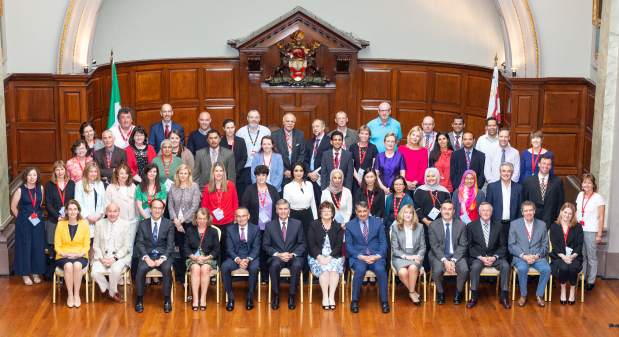 <p><em>The RCSI Bahrain delegation members with their colleagues in Dublin</em></p>