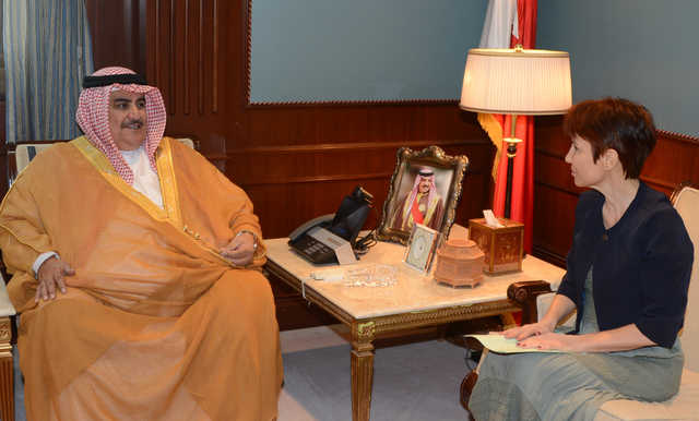 <p>Foreign Minister Shaikh Khalid bin Ahmed Al Khalifa received French Ambassador Cecile Longé and discussed co-operation. She stressed her country's keenness to promote relations.</p>