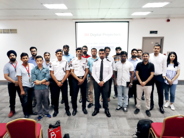 <p><em>Civil Defence personnel with some of the contractors at the event.</em></p>