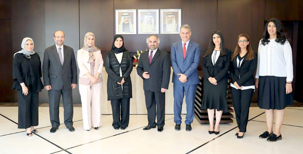 <p><em>GPIC president Dr Abdulrahman Jawahery, centre, with Ms Binfalah, fourth from left, with other officials.</em></p>