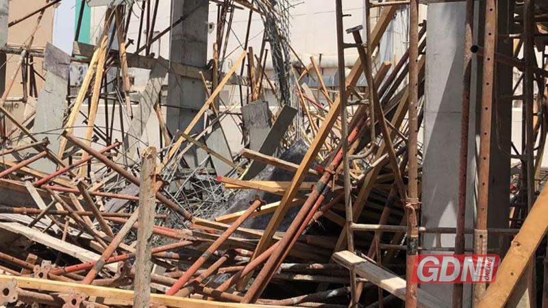 VIDEO: Floor ceiling collapses in building under construction, five injured