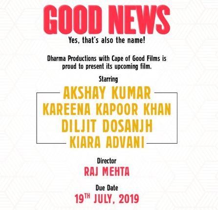Kareena-Akshay's 'Good News' to release in July, 2019