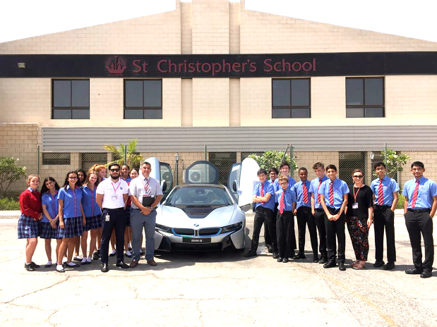 """Students at St Christopher's School have been treated to a close-up look at the hi-tech BMW i8, a plug-in hybrid sports car designed to combine style with sustainability. It was showcased by BMW dealer Euro Motors during a three-hour interactive workshop. """"We are proud to witness the strong interest and curiosity from all the students who attended our workshop,"""" said Euro Motors BMW and MINI marketing manager Rashid Alzayani. """"The BMW i8 resembles a strong foretaste on how our future in mobility will look like and we're glad we had the opportunity to give the future generation a chance to reflect on the change they'll be witnessing as they grow into professionals in their respective fields.""""  Above, the BMW i8 being showcased during a workshop for school pupils."""