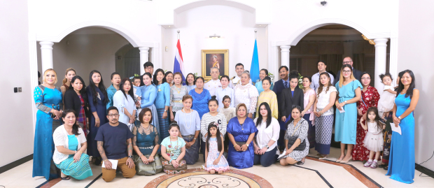 Thai Ambassador Thanis Na Songkhla hosted celebrations marking Queen Sirikit Kitiyakara's 86th birthday at the embassy in Manama last night. Community members paid their respects to the Queen after the lighting of a ceremonial candle followed by prayers. Present were diplomats, dignitaries, government representatives and community members. Above, Thai community members and guests during the event.