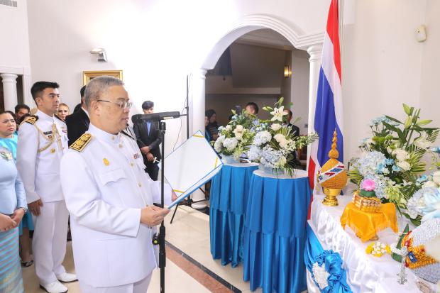 Ambassador Thanis Na Songkhla leading the celebrations.