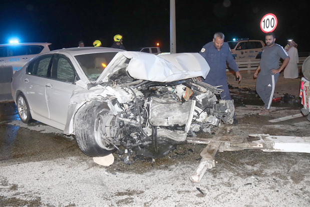 Two Saudi nationals were injured in a four-car collision on King Fahad Causeway early yesterday morning. Sources said a man was driving towards Saudi Arabia at 2.30am when he reportedly lost control of his vehicle and collided with the cement barriers before smashing into another car driving in the same direction. The car then crashed into two other vehicles, resulting in two Saudi nationals suffering from injuries. They were transferred to Salmaniya Medical Complex. An investigation has been launched to determine the cause of the accident. Above, the vehicles involved in the accident
