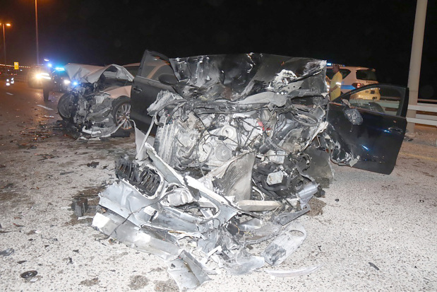 One of the damaged cars involved in the accident