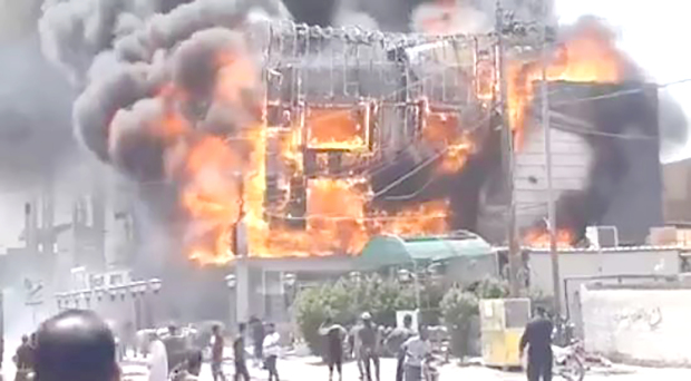 No Bahrainis were injured in a fire that broke out at a hotel in Najaf, Iraq. The Foreign Ministry confirmed with the Bahraini consulate in Najaf that there were no injuries or deaths among Bahrainis following the fire. At least four Iranian pilgrims were injured in the blaze at the Qubtan Hotel, according to media reports from Iraq and Iran. The fire at the hotel, located in the city's old quarters, was caused by a short circuit. Above, the blaze engulfing the building.