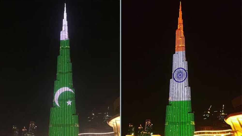 Burj Khalifa lights up in Indian and Pakistani colours