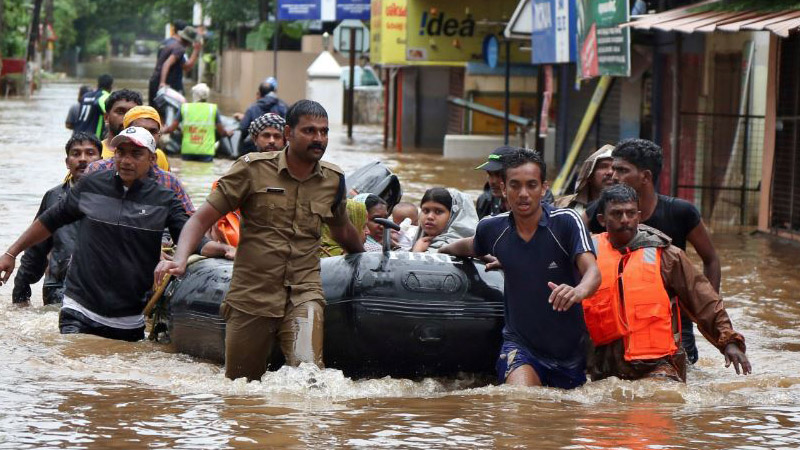 King pledges aid for flood-hit in Kerala