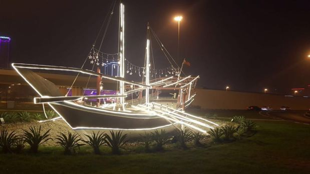 <p><em>A dhow lit up in the Capital Governorate.</em></p> <p>Preparations are in full swing as Bahrain gears up for Eid Al Adha celebrations.</p> <div>Street cleaners are set to work round the clock to clear all four governorates of any garbage pileups, while policemen will be out in force on main highways and popular areas to ensure smooth traffic flow.</div> <div></div> <div>Streets and monuments have been adorned with decorative lights.</div> <p><em><br /></em></p>