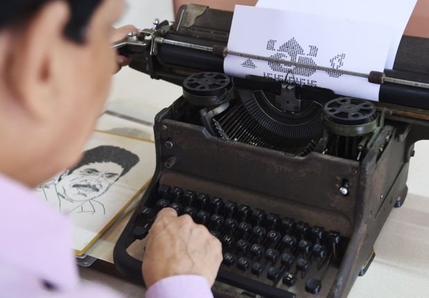 OMG: The Indian artist drawing portraits with a typewriter