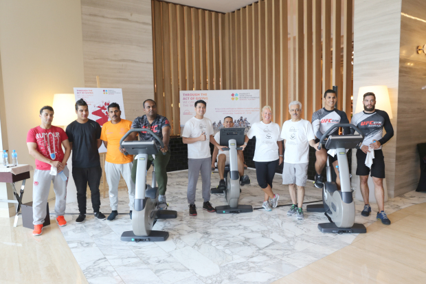 <p>Participants in a charity bike ride have raised more than BD2,500 for cancer patients in Bahrain. Forty-eight people took part in the event held at The Westin City Centre Bahrain. They were from the Sheraton Bahrain Hotel, The Westin City Centre Bahrain, Le Meridien City Centre Bahrain and Marriot Executive Apartments. The money will go towards cancer patients under the Smile Initiative. Collections will continue until November 30 with more charity activities. Above, participants at the event</p>